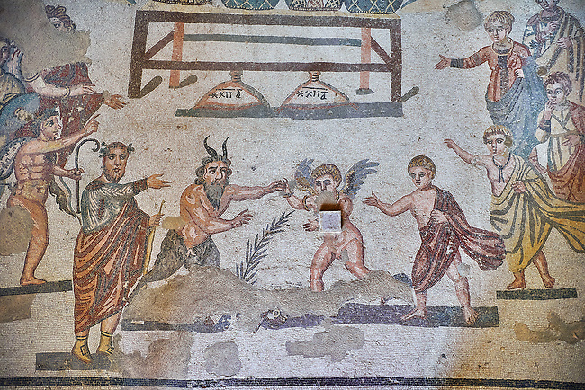 Close up detail of the Roman mosaics of the Vestibule of Eros & Pan, room no 43  at the Villa Romana del Casale, first quarter of the 4th century AD. Sicily, Italy. A UNESCO World Heritage Site.<br /> <br /> The Vestibule of Eros and Pan Roman floor mosaic at the Villa Romana del Casale depicts a scene that is intended to show how difficult it is for someone like Pan , who is ugly but has a good heart, to conquer love, represented by Eros. Between the two divinities are a palm leaf and a coin symbolising the prizes to be awarded to the winner of the contest.