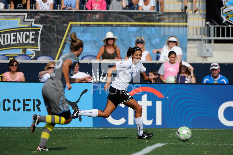 Christen Press (23) of magicJack SC. The Philadelphia Independence defeated magicJack SC 2-0 during the Women's Professional Soccer (WPS) Super Semifinal at PPL Park in Chester, PA, on August 20, 2011.