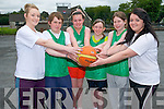 Enjoying the Team Kerry Basketball Camps in Killarney last week. .L-R Rosie Young, Kevin Lavery, Caoimhe O'Sullivan, Maeve O'Brien, Leona Buckley and Shannon Lowe.