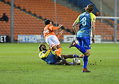 18/12/18 The Emirates FA Cup, 2nd Round Replay Blackpool v Solihull Moor<br /> <br /> Jamie Reckford fouls Liam Feeney