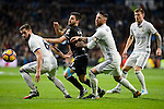 Real Madrid Nacho Fernandez, Sergio Ramos and Toni Kroos and Deportivo de la Coruña Bruno Gama during La Liga match between Real Madrid and Deportivo de la Coruña at Santiago Bernabeu Stadium in Madrid, Spain. December 10, 2016. (ALTERPHOTOS/BorjaB.Hojas)