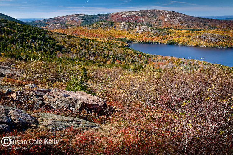 Autumn color over Eagle Lake in Acadia National Park, ME, USA