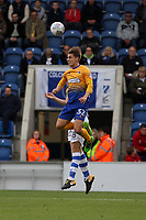 Danny Rose of Mansfield Town gets his head to the aerial ball during Colchester United vs Mansfield Town, Sky Bet EFL League 2 Football at the Weston Homes Community Stadium on 7th October 2017