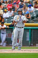 Hector Sanchez (40) of the El Paso Chihuahuas at bat against the Salt Lake Bees in Pacific Coast League action at Smith's Ballpark on July 10, 2016 in Salt Lake City, Utah. El Paso defeated Salt Lake 11-2. (Stephen Smith/Four Seam Images)