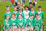 SIMPLY THE BEST: The Foilmore team that took part in the annual Johnny Boyle memorial Shield Juvenile Football Blitz in Caherciveen on Sunday last..Front L/r Ellen O'Sullivan, Fionuir O'Connor, Sharon O'Sullivan, Saoirse O'Connor, Dillon O'Sullivan..Second row L/r. Stephen Fogarty, Stephen O'Connor, Patrick Devane, Jack O'Sullivan, Pierce McGill, Shane Coffey..Back L/r.Team coaches  Sean O'Sullivan and Frank McGill.   Copyright Kerry's Eye 2008
