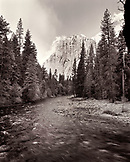 USA, California, Yosemite National Park, a view of the Merced River with El Capitan in the distance (B&W)