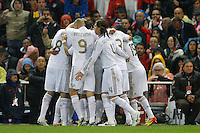 11.04.2012 MADRID, SPAIN - La Liga match played between At. Madrid vs Real Madrid (1-4) with hat-trick of Cristiano Ronaldo at Vicente Calderon stadium. The picture show  Real Madrid CF player´s celebrating his team's goal