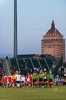 Sky Blue FC and the Western New York Flash enter the field prior to the start of the match. The Western New York Flash defeated Sky Blue FC 2-0 during a National Women's Soccer League (NWSL) semifinal match at Sahlen's Stadium in Rochester, NY, on August 24, 2013.
