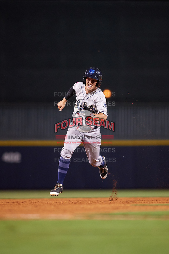 Mobile BayBears left fielder Bo Way (3) runs the bases during a game against the Mississippi Braves on May 7, 2018 at Trustmark Park in Pearl, Mississippi.  Mobile defeated Mississippi 5-0.  (Mike Janes/Four Seam Images)