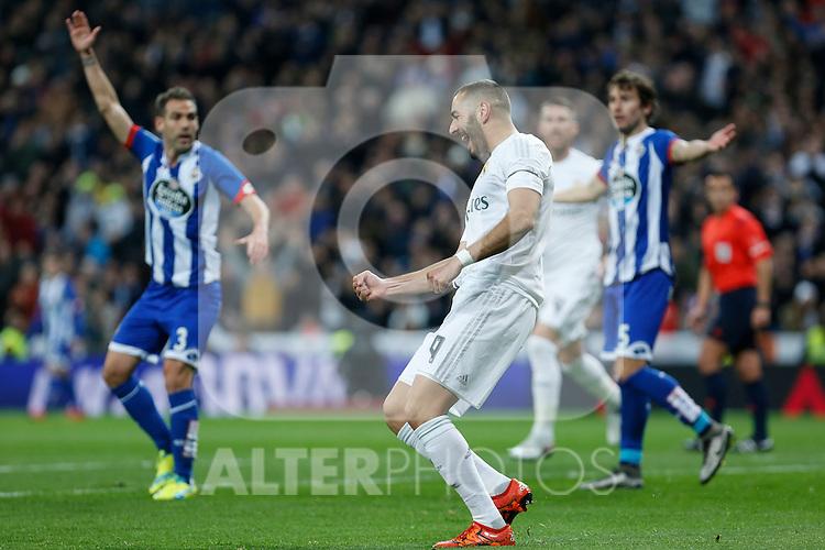 Real Madrid´s Karim Benzema celebrates a goal during 2015/16 La Liga match between Real Madrid and Deportivo de la Coruna at Santiago Bernabeu stadium in Madrid, Spain. January 09, 2015. (ALTERPHOTOS/Victor Blanco)