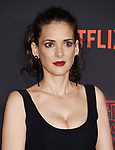 WESTWOOD, CA - OCTOBER 26: Actress Winona Ryder arrives at the Premiere Of Netflix's 'Stranger Things' Season 2 at Regency Westwood Village Theatre on October 26, 2017 in Los Angeles, California.