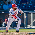 2 March 2019: Washington Nationals outfielder Hunter Jones lays down a bunt single in the 6th inning of a Spring Training game against the Minnesota Twins at the Ballpark of the Palm Beaches in West Palm Beach, Florida. The Nationals defeated the Twins 10-6 in Grapefruit League play. Mandatory Credit: Ed Wolfstein Photo *** RAW (NEF) Image File Available ***