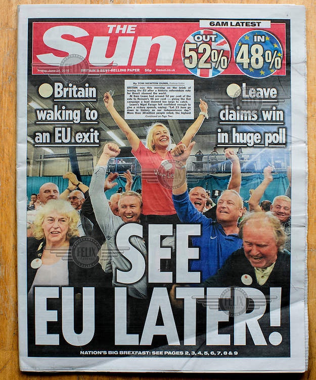 The front cover of the Sun newspaper announcing the result of the EU referendum on 24 June 2016, the day following the vote. The Sun, owned by Australian media tycoon Rupert Murdoch, supported the Leave (the EU) side during the campaign leading up to the vote.