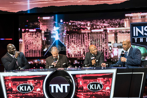 LAS VEGAS, NV - JANUARY 11: Shaquille O'Neal, Ernie Johnson, Kenny Smith and Charles Barkley pictured during a special live NBA On TNT Telecast at CES 2018 in Las Vegas, Nevada on January 11, 2018. Credit: Damairs Carter/MediaPunch