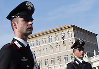Carabinieri davanti Piazza San Pietro in occasione dell'Angelus celebrato da Papa Francesco, sullo sfondo, Citta' del Vaticano, 15 novembre 2015.<br /> Carabinieri outside of St. Peter's Square on the occasion of the Angelus prayer recited by Pope Francis, in background, at the Vatican, 15 November 2015.<br /> UPDATE IMAGES PRESS/Riccardo De Luca<br /> <br /> STRICTLY ONLY FOR EDITORIAL USE