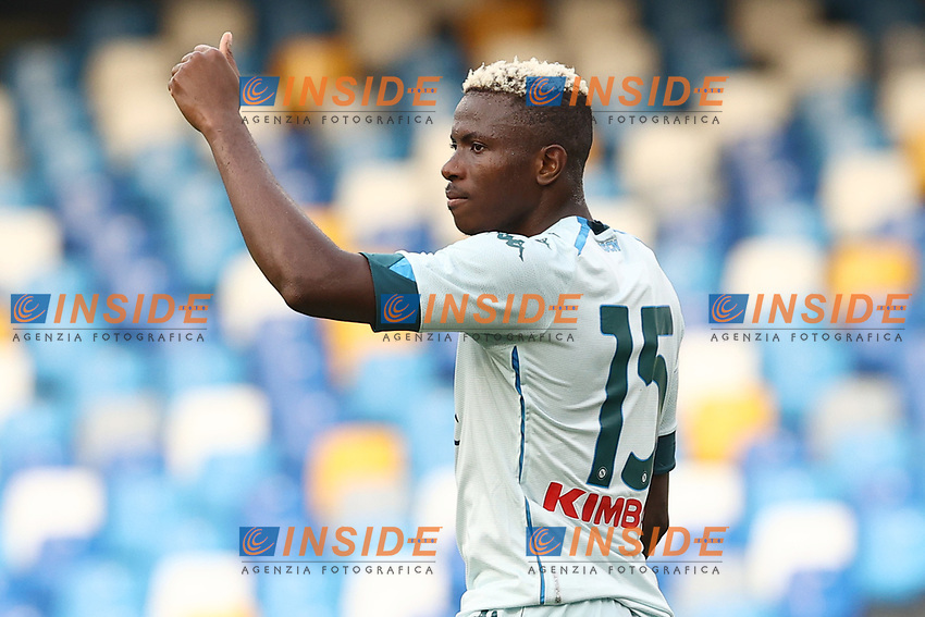 Victor Osimhen of SSC Napoli gestures<br /> during the friendly football match between SSC Napoli and Pescara Calcio 1936 at stadio San Paolo in Napoli, Italy, September 11, 2020. <br /> Photo Cesare Purini / Insidefoto