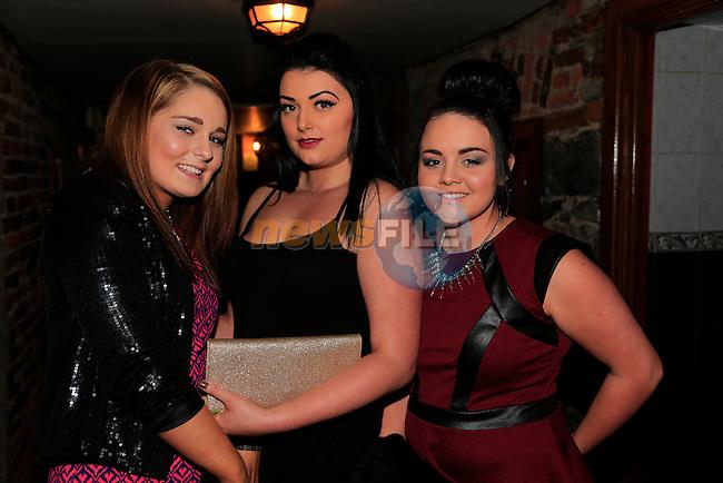 Katie Matthews<br /> Hannah Quinn<br /> Amy Washington 18th birthday in McPhails<br />  Picture: Fran Caffrey www.newsfile.ie