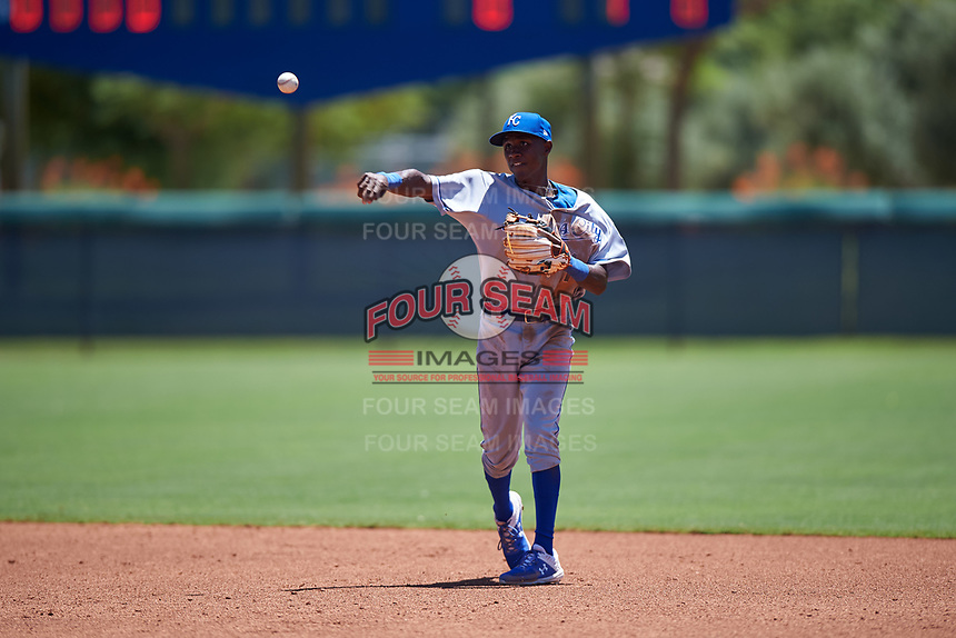 AZL Royals second baseman Tyler Tolbert (14) throws to first base during an Arizona League game against the AZL Dodgers Lasorda on July 4, 2019 at Camelback Ranch in Glendale, Arizona. The AZL Royals defeated the AZL Dodgers Lasorda 4-1. (Zachary Lucy/Four Seam Images)