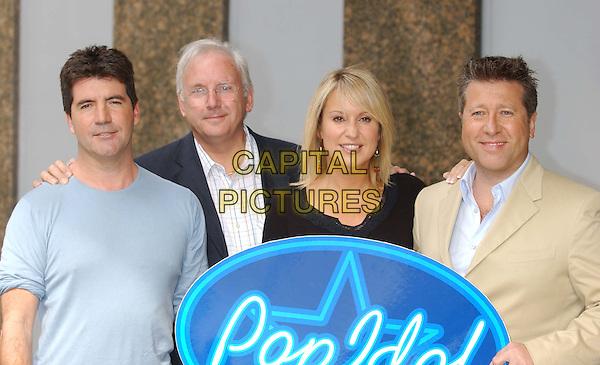 "SIMON COWELL, PETE WATERMAN, NICKI CHAPMAN, NEIL FOX.""Pop Idol"" TV program judges photocall.dr fox peter.sales@capitalpictures.com.www.capitalpictures.com.©Capital Pictures"