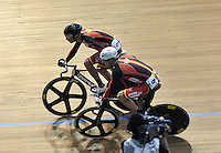 CALI – COLOMBIA – 02-03-2014: David Muntaner y Albert Torres de España ganan la prueba Madison Hombres Final en el Velodromo Alcides Nieto Patiño, sede del Campeonato Mundial UCI de Ciclismo Pista 2014. / David Muntaner and Albert Torres of Spain win the test Men´s Madison at the Alcides Nieto Patiño Velodrome, home of the 2014 UCI Track Cycling World Championships. Photos: VizzorImage / Luis Ramirez / Staff.