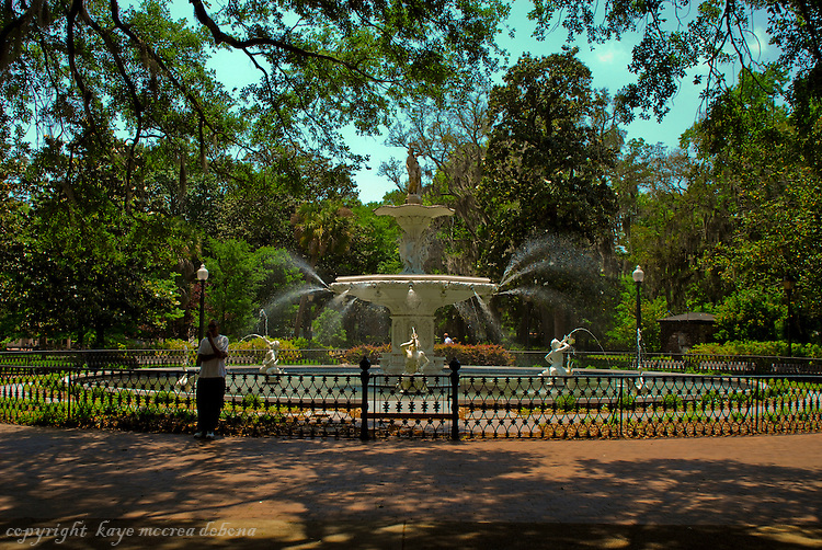 Forsyth Park and Forsyth Park Fountain, Savannah, GA.  The fountain was 1st erected in 1858 and completely restored in 1988