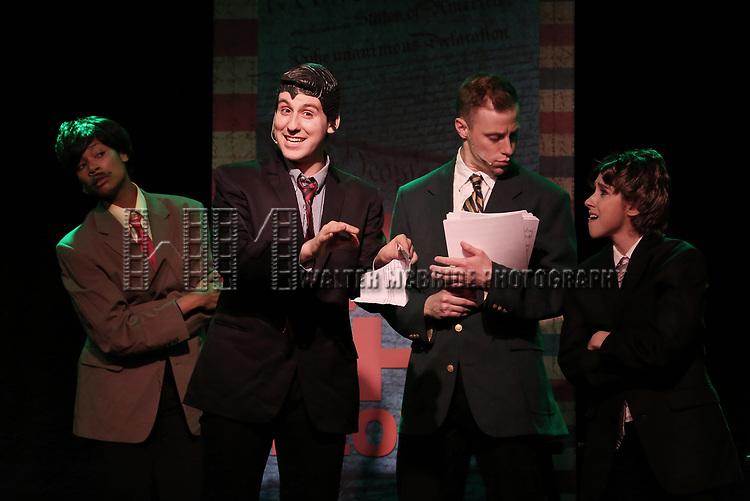 Aiesha Dukes, Richard Spitaletta as Paul Ryan, Mitchel Kawash and Mia Weinberger perform onstage during the 'ME THE PEOPLE: The Trump America Musical' Press Preview Presentation at The Triad Theater on June 21, 2017 in New York City.
