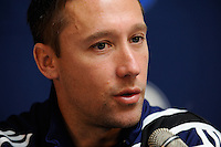 Akron Zips head coach Caleb?Porter during a press conference the day prior to the finals of the 2009 NCAA Men's College Cup at WakeMed Soccer Park in Cary, NC on December 12, 2009.