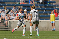 Bridgeview, IL - Saturday May 27, 2017: Debinha De Oliveira, Jaelene Hinkle during a regular season National Women's Soccer League (NWSL) match between the Chicago Red Stars and the North Carolina Courage at Toyota Park. The Red Stars won 3-2.