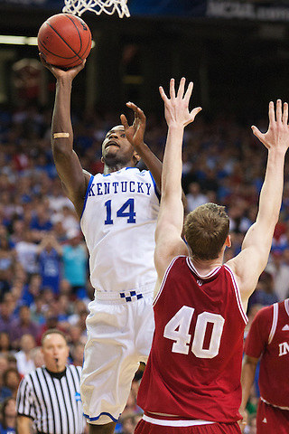 Kentucky Wildcats forward Michael Kidd-Gilchrist shoots against Indiana Hoosiers forward Cody Zeller. Kentucky faced Indiana during the Sweet 16 round of the 2012 NCAA Tournament at the Georgia Dome in Atlanta,  March 23, 2012. Photo by Derek Poore
