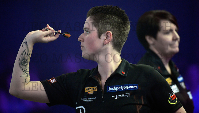 FRIMLEY, ENGLAND - JANUARY 08:  Sharon Prins of the Nederlands  throws during her Women's  first round match against Lisa Ashton of England on Day Two of the BDO Lakeside  World Professional Darts Championships at The Lakeside Country Club on January 8, 2017 in Frimley, England. (Leo Mason Photo by Split Second/Corbis via Getty Images)