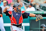 13 March 2012: Atlanta Braves catcher Brian McCann in action during a Spring Training game against the Miami Marlins at Roger Dean Stadium in Jupiter, Florida. The two teams battled to a 2-2 tie playing 10 innings of Grapefruit League action. Mandatory Credit: Ed Wolfstein Photo
