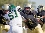Palos Verdes, CA 10/07/16 - Sean Darma (Peninsula #56), Spencer Ness (Peninsula #52) and Callum Lapper (Mira Costa #51) in action during the CIF Bay League game between Mira Costa and Peninsula.