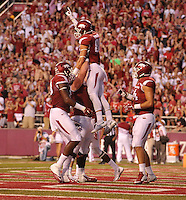NWA Democrat-Gazette/MICHAEL WOODS • @NWAMICHAELW<br /> University of Arkansas receiver Drew Morgan celebrates after a touchdown in the 2nd quarter of Saturday nights game at Razorback Stadium in Fayetteville.