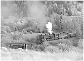 D&amp;RGW #483 with 26 empties going upgrade on the the lower loop above Maysville on Monarch Branch.<br /> D&amp;RGW  Maysville, CO  Taken by Richardson, Robert W. - 6/15/1955