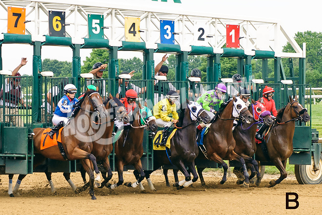 20x30 B<br /> Showmeister breaking from the gate at Delaware Park on 7/22/17