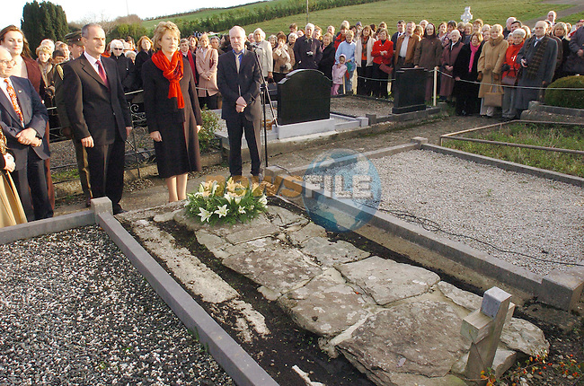 President Mary McAleese after laying a wreath at the grave of patrick Kavanagh in Inniskeen Co Monaghan..Photo Fran Caffrey Newsfile.ie..This Picture has been sent to you by Newsfile Ltd..The Studio,.Millmount Abbey,.Drogheda,.Co. Meath,.Ireland..Tel: +353(0)41-9871240.Fax: +353(0)41-9871260.ISDN: +353(0)41-9871010.www.newsfile.ie..general email: pictures@newsfile.ie