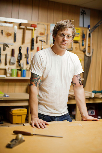 August 25, 2010. Raleigh, North Carolina..Artist Ian Pause in his studio and with many of his wood based creations.