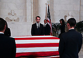 United States President Barack Obama and First Lady Michelle Obama arrive to pay their respects to US Supreme Court Justice Anthony Scalia, in front of the casket bearing his body, in the Great Hall of the US Supreme Court, Washington, DC, February 17, 2016.  Anthony Scalia died February 13, 2016, at age 79, during a hunting trip in West Texas. <br /> Credit: Aude Guerrucci / Pool via CNP