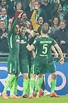 12.03.2018, Weser Stadion, Bremen, GER, 1.FBL, Werder Bremen vs 1.FC Koeln, im Bild<br /> <br /> jubel Milos Veljkovic (Werder Bremen #13) zum 1 zu 0<br /> Milot Rashica (Werder Bremen #11)#<br /> Theodor Gebre Selassie (Werder Bremen #23)<br /> Ludwig Augustinsson (Werder Bremen #5)<br /> Foto &copy; nordphoto / Kokenge