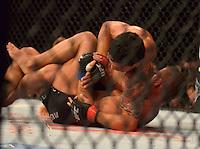 GOIÂNIA - GO – 09.11.2013 – UFC FIGHT NIGHT- ADRIANO MARTINS vs DARON CRUICKSHANK – O brasileiro Adriano Martins (vermelho) peso leve durante luta contra o norte-americano Daron Cruickshank (azul) no UFC Fight Night realizado na Arena Goiânia neste sábado, 09.  (Foto: Ricardo Botelho / Brazil Photo Press).