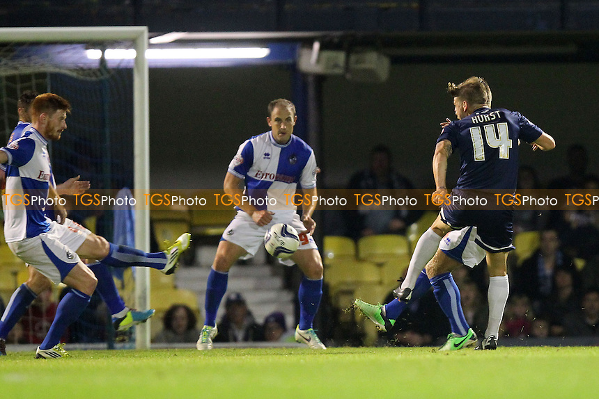 Kevan Hurst of Southend United (14) scores the equalising goal for his team - Southend United vs Bristol Rovers - Sky Bet League Two Football at Roots Hall, Southend-on-Sea, Essex - 27/09/13 - MANDATORY CREDIT: Gavin Ellis/TGSPHOTO - Self billing applies where appropriate - 0845 094 6026 - contact@tgsphoto.co.uk - NO UNPAID USE