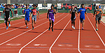 Collihnsville's Jermarrion Stewart (center) leads other runners in the fourth section of the 200 meter race which he won at the Norm Armstrong BoysTrack and Field Invitational on Wednesday April 11, 2018. Photo by Tim Vizer