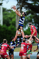 Luke Charteris of Bath Rugby wins the ball at a lineout. Pre-season friendly match, between the Scarlets and Bath Rugby on August 20, 2016 at Eirias Park in Colwyn Bay, Wales. Photo by: Patrick Khachfe / Onside Images