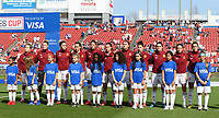 FRISCO, TX - MARCH 11: Spain stands for their National Anthem during a game between England and Spain at Toyota Stadium on March 11, 2020 in Frisco, Texas.