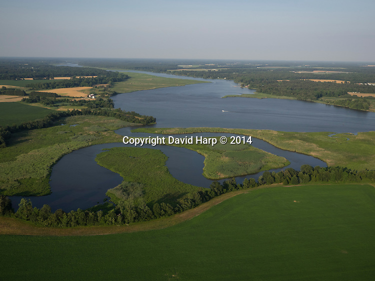 Kings Creek, foreground, meanders through marsh and farmland and flows in and out of the Choptank River.
