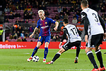 Ivan Rakitic of FC Barcelona (L) in action against Francis Qoquelin of Valencia CF (R) during the Copa Del Rey 2017-18 match between FC Barcelona and Valencia CF at Camp Nou Stadium on 01 February 2018 in Barcelona, Spain. Photo by Vicens Gimenez / Power Sport Images