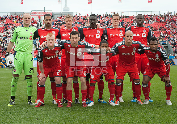 The Toronto FC starting eleven during an MLS game between the Philadelphia Union and the Toronto FC at BMO Field in Toronto on May 28, 2011..The Philadelphia Union won 6-2..