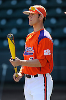 First baseman Andrew Cox (6) of the Clemson Tigers prior to the Reedy River Rivalry game against the South Carolina Gamecocks on March 1, 2014, at Fluor Field at the West End in Greenville, South Carolina. South Carolina won, 10-2.  (Tom Priddy/Four Seam Images)