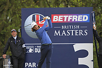 Tommy Fleetwood (ENG) on the 3rd tee during Round 2 of the Betfred British Masters 2019 at Hillside Golf Club, Southport, Lancashire, England. 10/05/19<br /> <br /> Picture: Thos Caffrey / Golffile<br /> <br /> All photos usage must carry mandatory copyright credit (&copy; Golffile | Thos Caffrey)