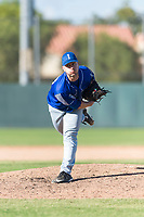 Team Italy relief pitcher Alex Bassani (40) follows through on his delivery during an exhibition game against the Oakland Athletics at Lew Wolff Training Complex on October 3, 2018 in Mesa, Arizona. (Zachary Lucy/Four Seam Images)